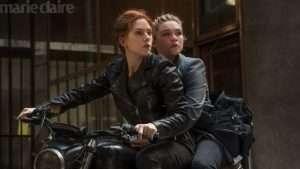 Natasha and Yelena in Black Widow bike scene