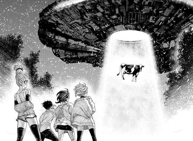 dandadan taking cow in ufo